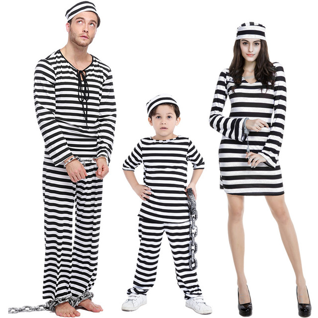 parent child halloween costume lovers prisoners cosplay family costume girls boys kids clothes exotic festival
