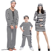 Parent-child Halloween Costume Lovers Prisoners Cosplay Family Costume Girls Boys Kids Clothes Exotic Festival Disfraces 14037H