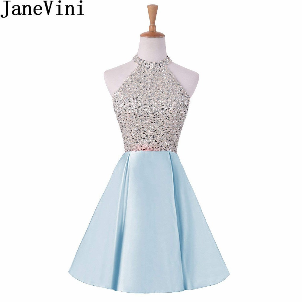 JaneVini Light Sky Blue Jewel Neck Beaded   Bridesmaid     Dresses   Short Keyhole Back A Line Homecoming   Dress   Satin Lebanon Party Gown