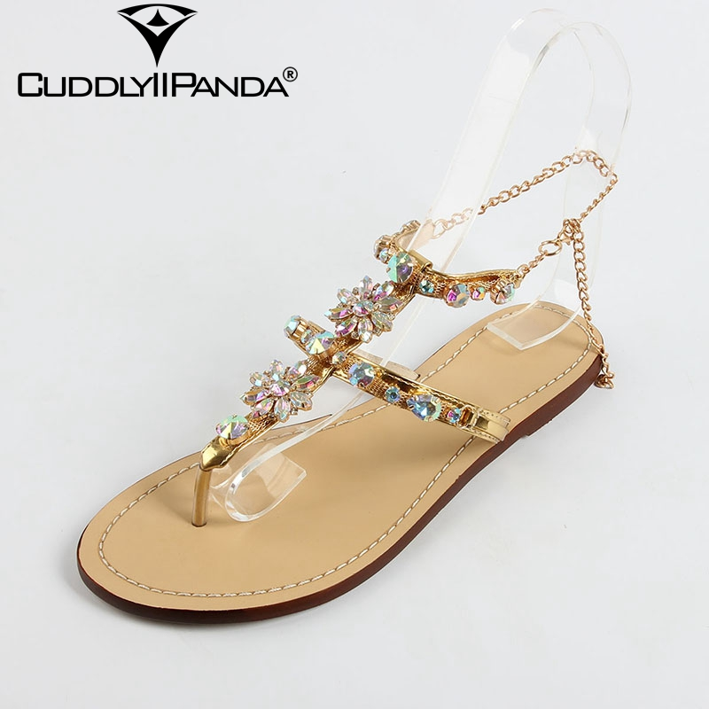 Summer Luxury Design <font><b>Women</b></font> Sandals Crystal Sandalias Mujer Rhinestone <font><b>Sexy</b></font> Lady Summer <font><b>Shoes</b></font> Chains Flip Flops <font><b>Sapato</b></font> <font><b>Feminino</b></font> image