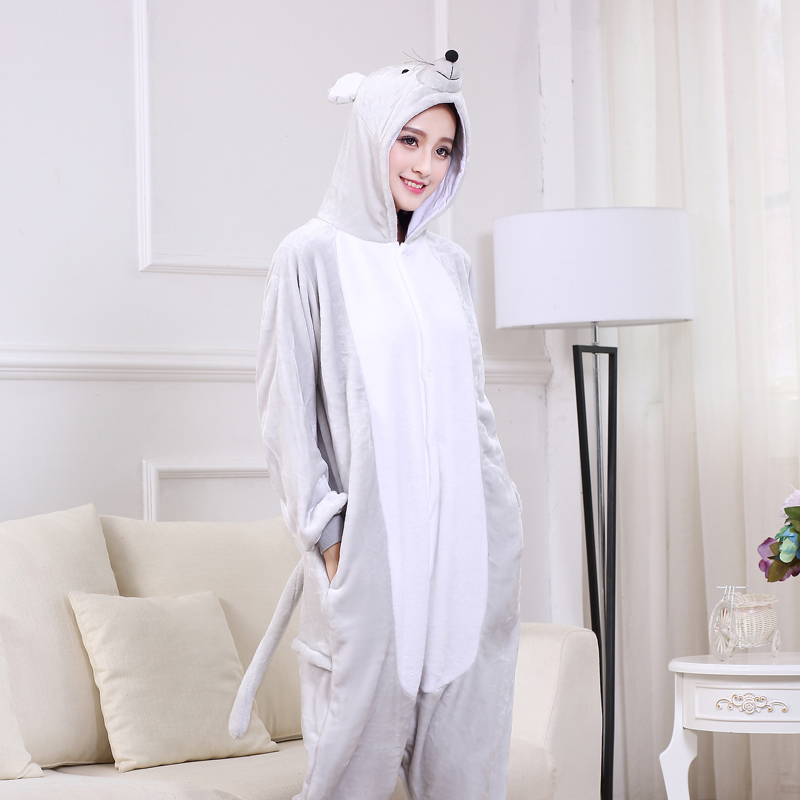 Soft Gray Mouse Onesie Flannel Warm Cute Pajamas Kigurumi Animal Sleepwear Adult For Women Cosplay home Special Costume Jumpsuit (3)