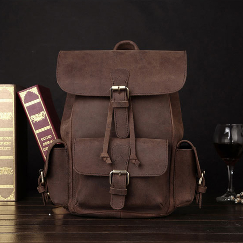 Vintage Daypack Crazy Horse Cowhide Unisex Backpack School Satchel Travel Large Capacity Genuine Leather Book Bags Rucksack New