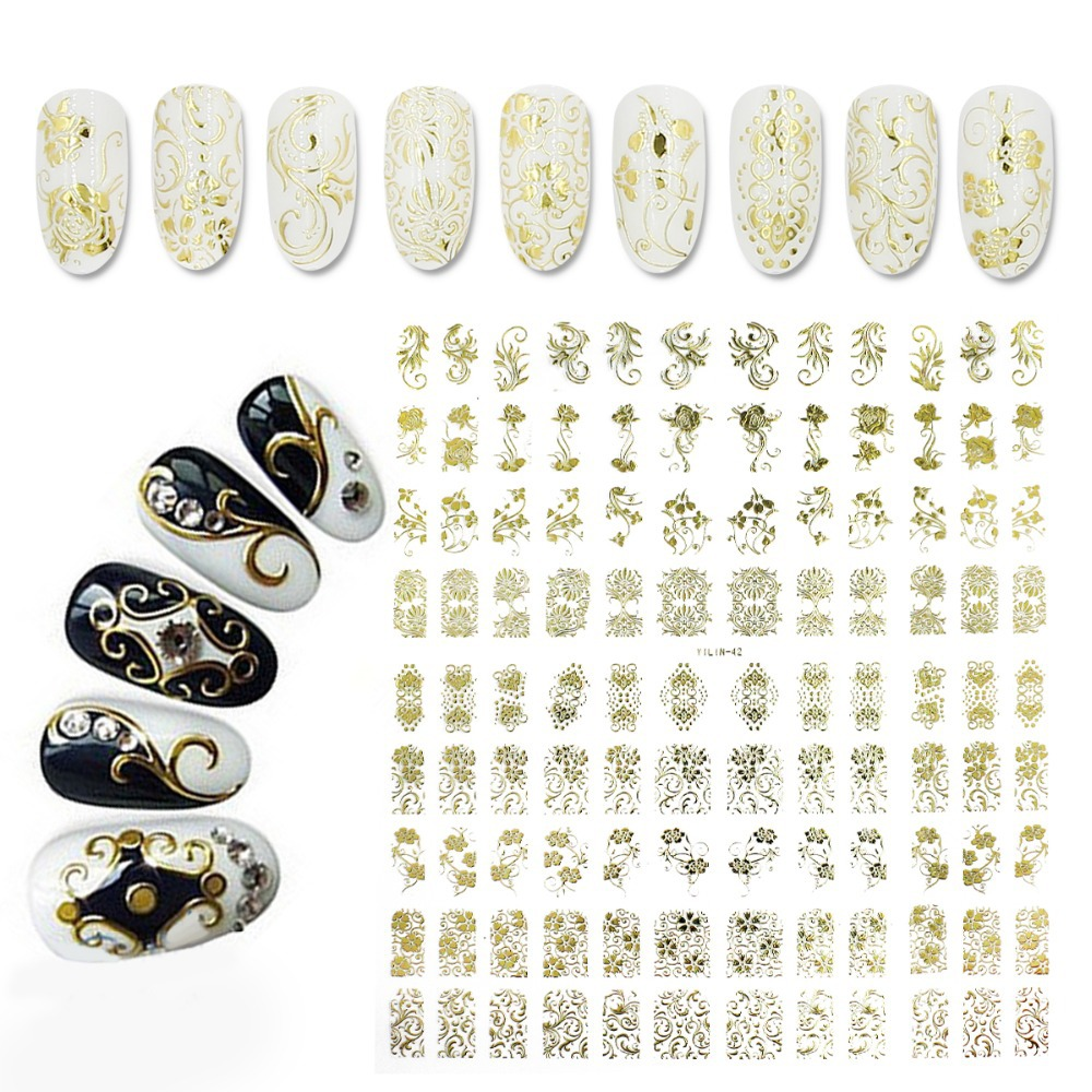 Hot Sale Golden DIY 3D Nail Stickers One Sheet  Na...