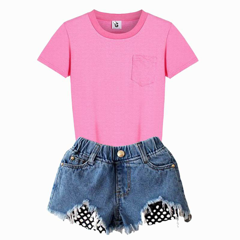 где купить Pink Girls Clothing Sets Summer Casual Suits For Girls Shorts Hole Jeans T-shirts Sets Children Kids Girl Clothes Sets For 8Y по лучшей цене