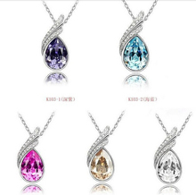 Lovely Austrian rhinestone Crystal Earrings+ Necklace Pendant sets Jewelry sets wholesale For Women Gifts  A014G