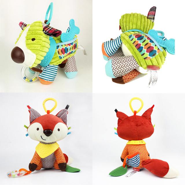 15*23 cm 7 colores encantadores juguetes del bebé colgar Mordedores Sonajeros de peluche animal de la historieta 0-3 años de Los Chrismas Brinquedos