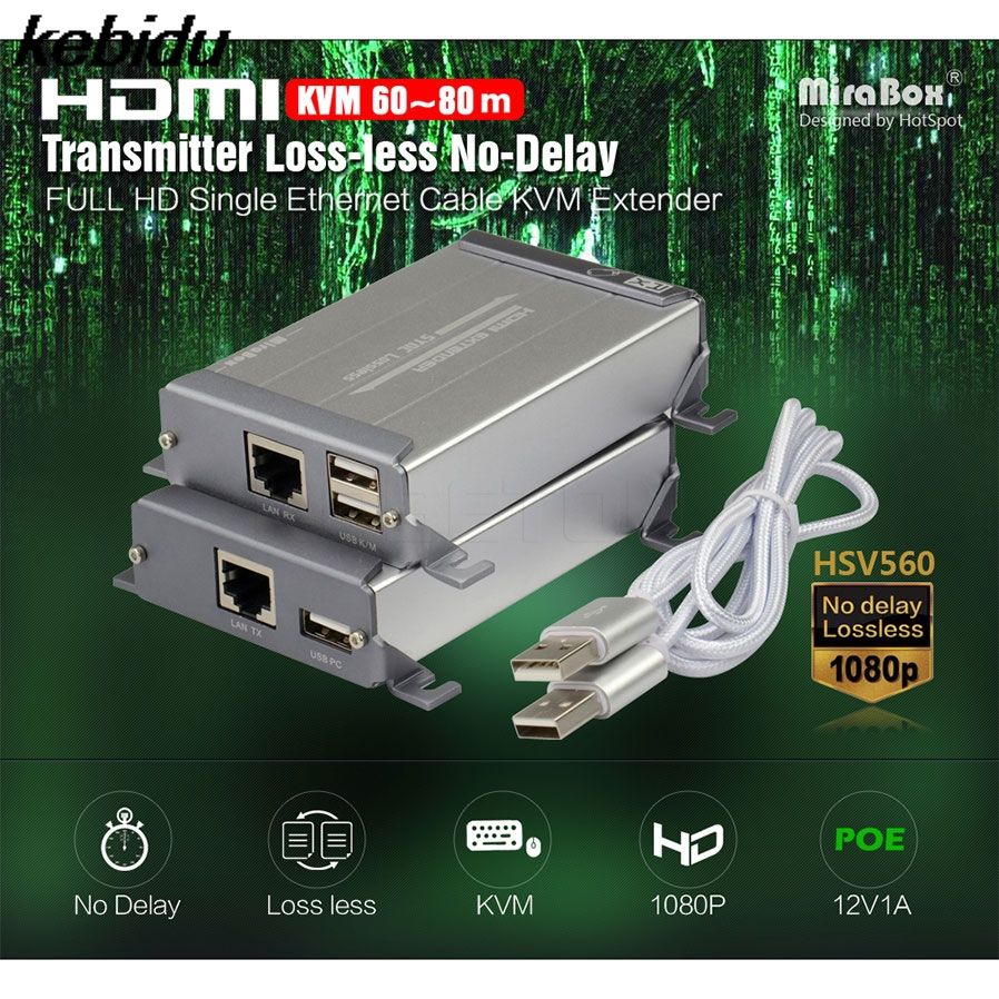 kebidu HDMI Extender Transmitter HD 1080P TX/RX Ethernet Cable HSV560 KVM Extender HDMI One Pair USB Keyboard And Mouse Transmit yihua 938d smd soldering tweezer repair rework station electric heating pliers constant temperature heating 110v 220v eu us plug