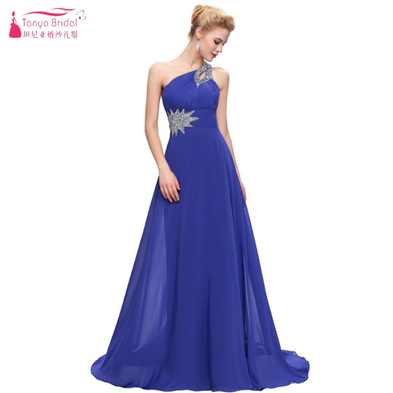 d4eb3b1131d73 TANYA One Shoulder A Line Long Simple Prom Dresses Lce Up Back Beads  Sequins Royal Blue