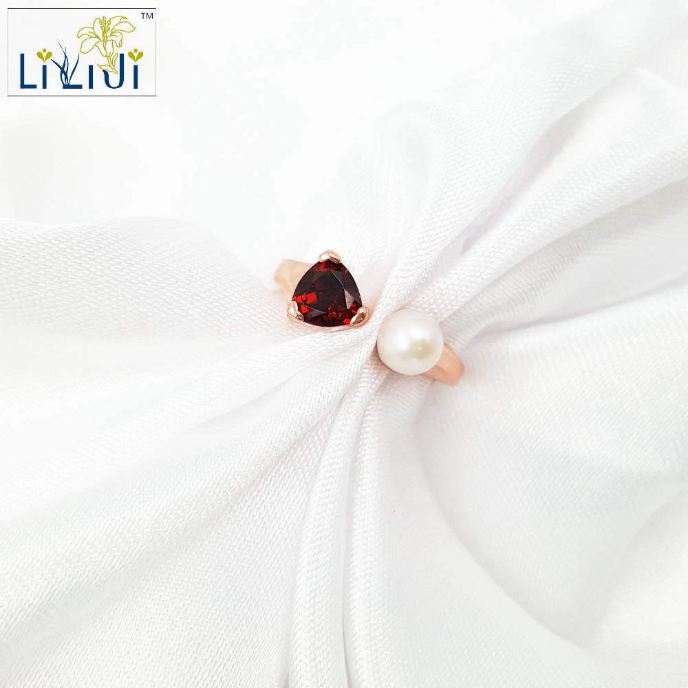 LiiJi Unique Natural Stone Garnet Freshwater Pearl 925 Sterling silver Charm Wedding Party Ring
