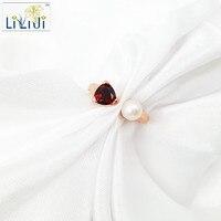 Liijiユニークな天然石ガーネット淡水真珠925スターリングシルバーチャームウェディングパーティーリング