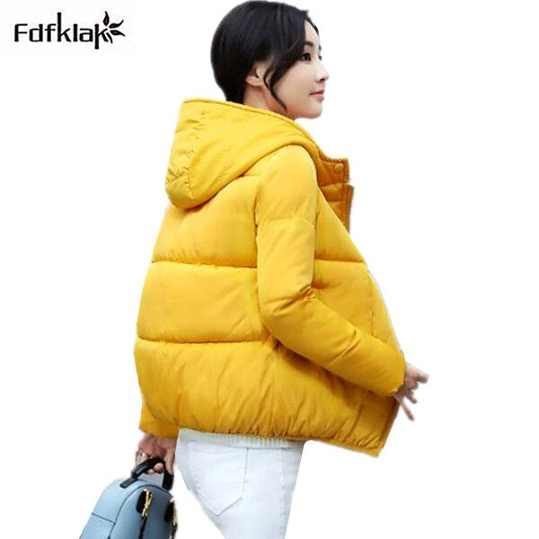 Fdfklak Fashion Women Coats Casual Cotton Womens Winter Jacket Short Slim Coat Female Hooded Warm Girls Winter Jackets Parkas