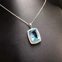 DJ CH Yancha Cutting 10X14MM Electric Blue Gems Stone Jewelry Pendant In Solid 925 Sterling Silver
