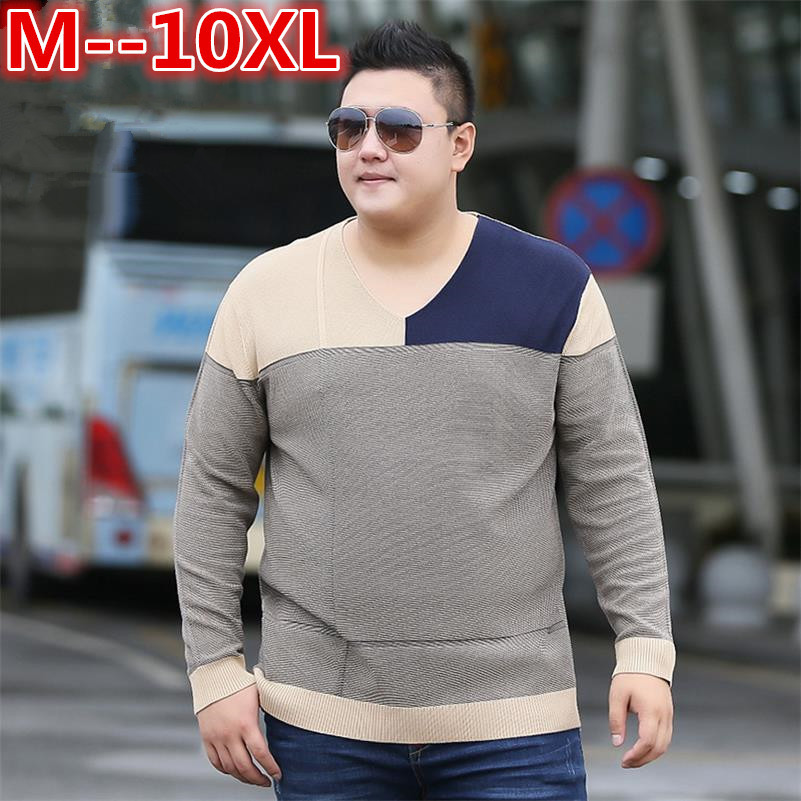 Plus Size 10XL 8XL 6XL 5XL V-Neck Slim Fit Sweater Men 2018 Fashion Spring Autumn Pullover Men Homme Leisure Solid Color Sweater