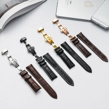 Genuine Leather Watch Band Wrist Strap 12 14 16 18 20 22 24mm Rose Gold Butterfly Clasp Buckle Replacement Black Brown Belt недорого