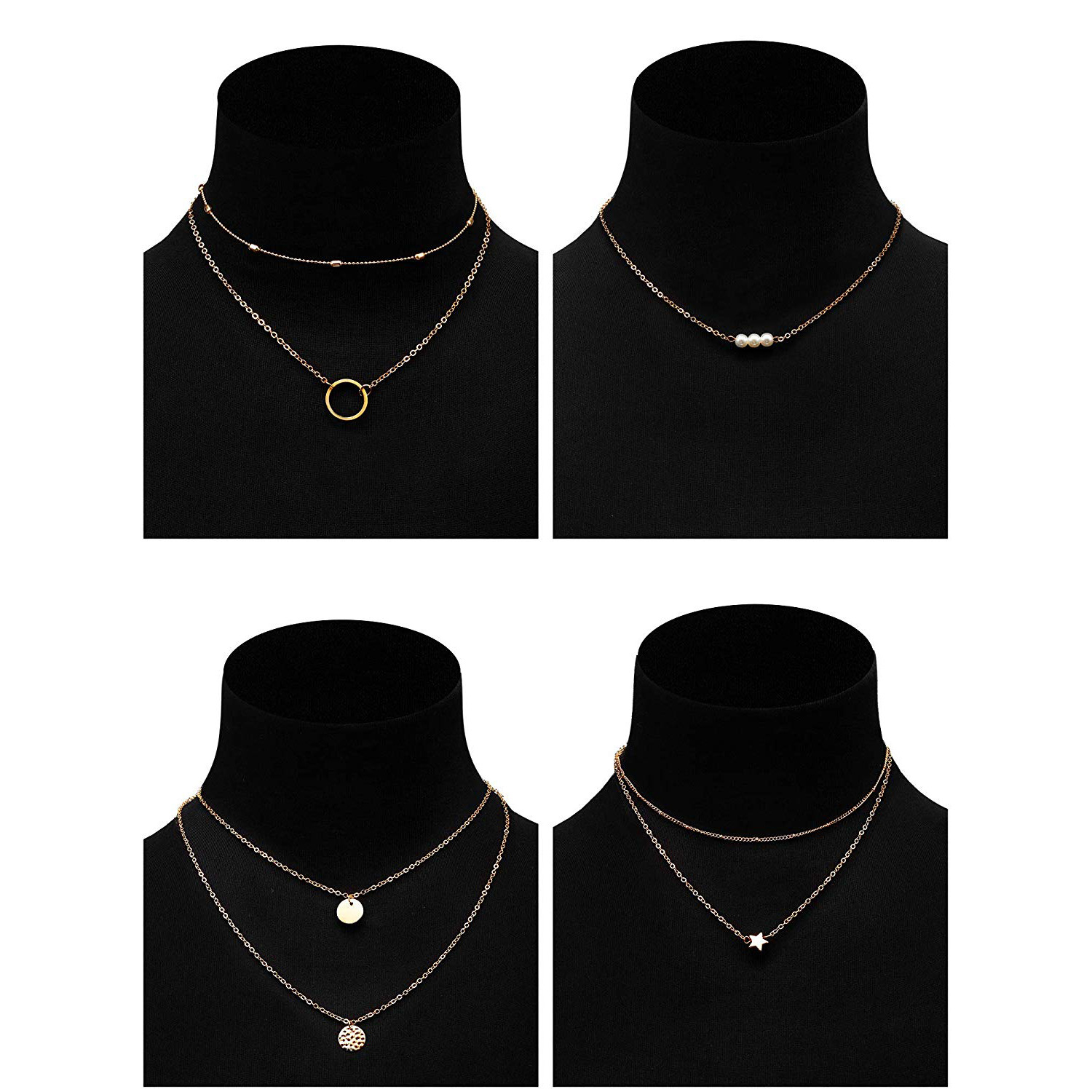 4 Pcs Set Multi layer Pendant Necklace Women Trendy Pearl Star Circle Adjustable Clavicle Chain Necklace A022 in Chain Necklaces from Jewelry Accessories