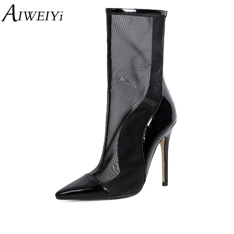 9e13a621d30647 Femmes D'été Mode Véritables Sexy Chaussures Chaussons Stiletto Designer  Haut Bottes Noir apricot Maille En Cuir Été Cheville Talons Aiweiyi wOmvN8n0