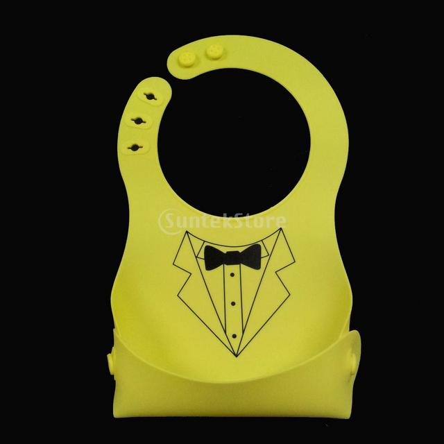 New SiliconeCrumb Catcher for Kids Lemon Green with Necktie Pattern Free Shipping