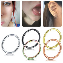 1PC Stainless Steel Seamless Hinged Nose Hoop Rings Piercing Adjustable By Hand Ear Septum Cartilage Helix Piercing Sexy Jewelry(China)