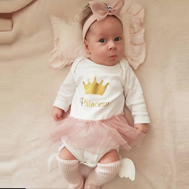 Recién Nacido bebé niña carta princesa Romper tul tutú ropa recién nacido bebé niña ropa vestido Venta caliente