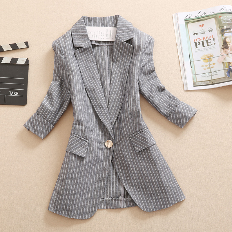New casual cotton and linen suit ladies long paragraph seven point sleeves thin section spring and summer new women's jacket