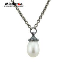 Authentic 925 Sterling Silver Not Original Fantasy Necklace With White Pearl Chain Pendant Dangle Necklace Jewelry Without Beads(China)