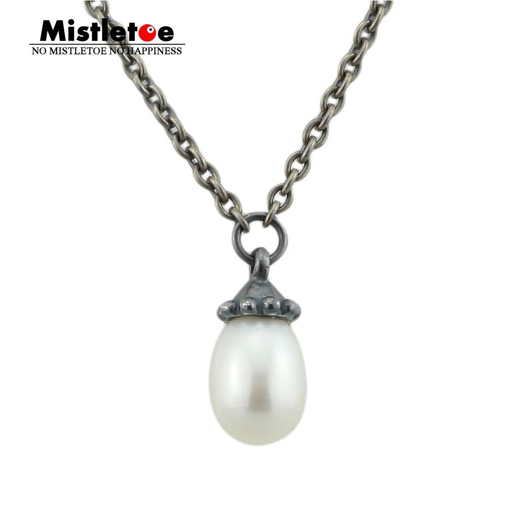 Collier fantaisie authentique en argent Sterling 925 non Original avec chaîne en perles blanches pendentif collier pendentif bijoux sans perles