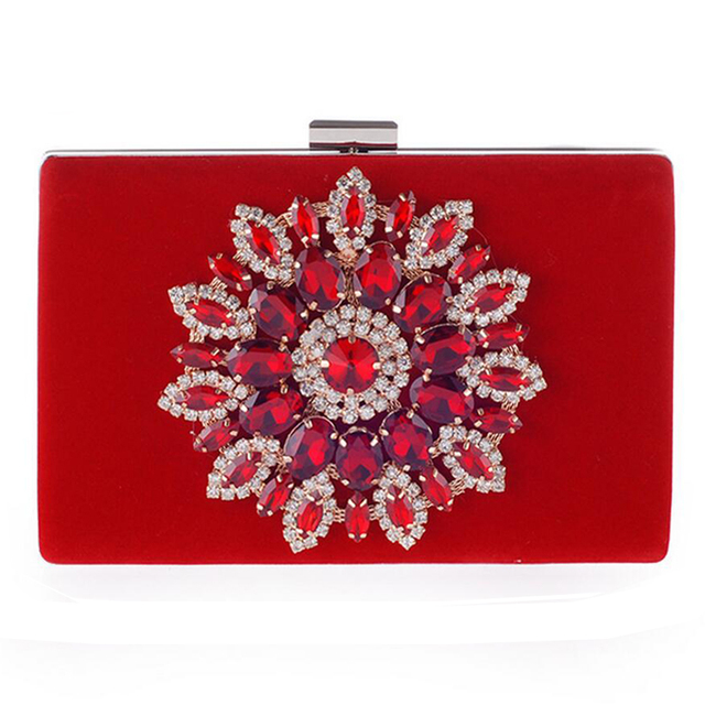 Big Diamond Flower Clutch Bags New 2016 Red Evening Bag Black Party Queen Purse Chains Handbags Shoulder Bag Fashion Clutches