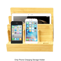 Home Bracket Office Organizer Wooden Travel Phone Holder Laptops Charging Storage Multi Slot Electronics Stand Device Tablets
