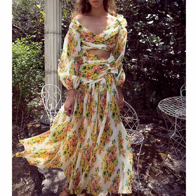 Cosmicchic High Quality ZIM Designer Multi Coloured Yellow Flower Print Silk Blend Pleated Floral Maxi Dress