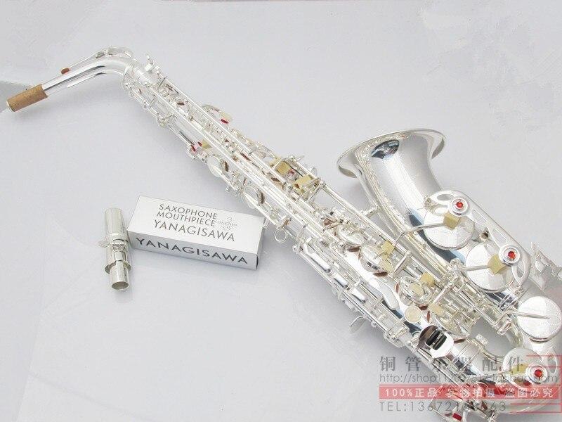 2018 Vente En Gros-Date Yanagisawa Japon Saxophone Alto Eb Sax W037 Argent Plaqué Laiton Instruments de Musique Professionnel Saxofone