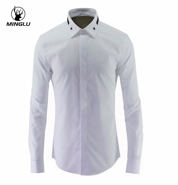 meilleur site web 5feb4 51600 US $38.71 13% OFF|Men Slim Fit Long Sleeve Mens Dress Shirts Casual Chemise  Homme Marque Luxury Brand Men Shirt New Arrival Star Print Shirt-in Casual  ...