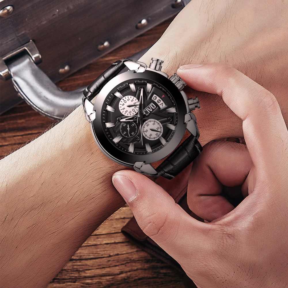 781198d83 ... CIVO Men's Sport Watch Waterproof Chronograph Leather Watches For Men  Teenager Date Calendar Analogue Quartz Wrist