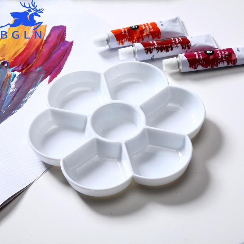 BGLN 7 Holes Plum Color Palette High Quality Acrylic Gouache Watercolor Paint Palette Plastic Palette Watercolor Palette School