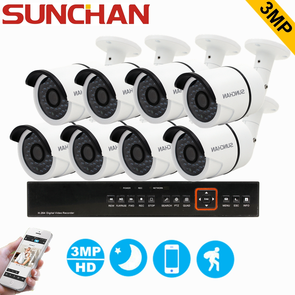 SUNCHAN 8CH-8CAM HD TVI 3MP CCTV In& Outdoor Home Security Camera System Surveillance DVR Kit with 8pcs 2048*1536 TVI Cameras sunchan 8ch ahdh security camera system 8 chanel dvr system 8x1080p 3000tvl indoor sony cctv camera surveillance system kit
