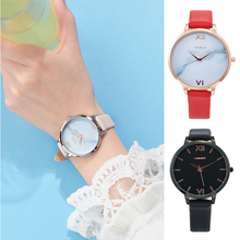 Quartz Watch Women wristwatch viger Fashion simple Waterproof watch add PU Leather watch band Wristband Suitable for gifts New