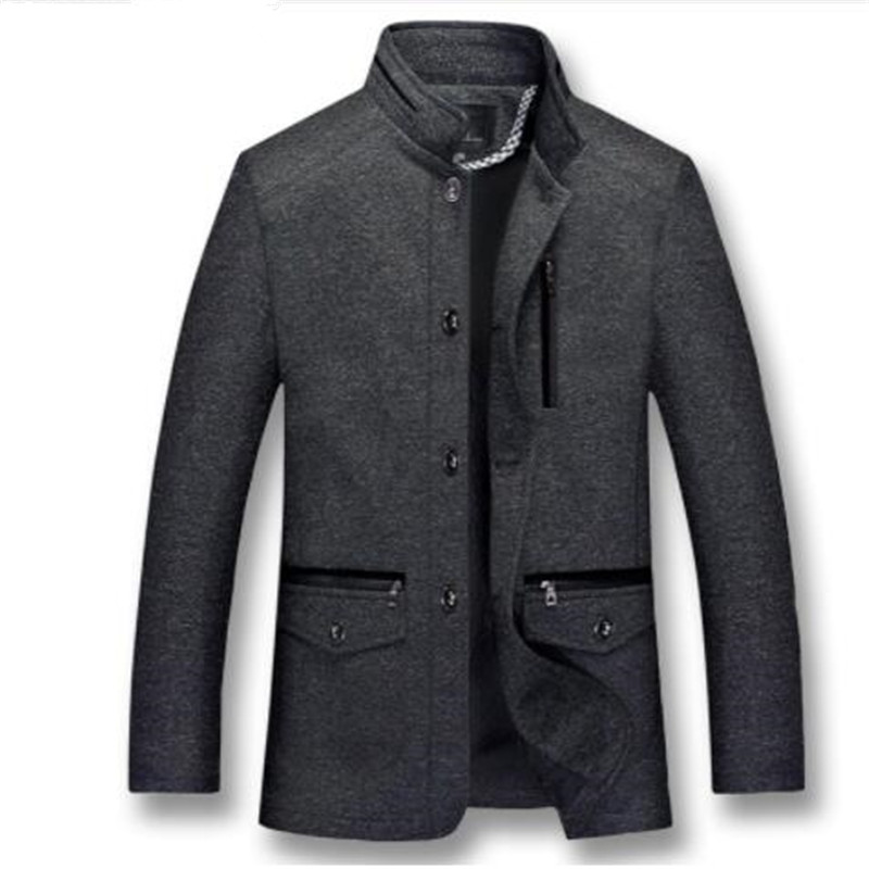 Wool Coats Jacket Black Autumn Winter Men's Plus Cotton Stand-Collar XL-5XL