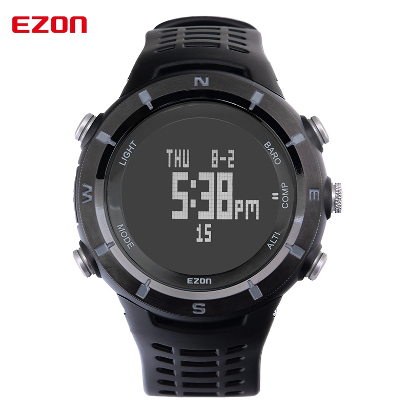 цены EZON Men Sport Watch Waterproof Outdoor Climbing Altimeter Barometer Compass Alarm Digital Watch Clock Saat Relogio Masculino