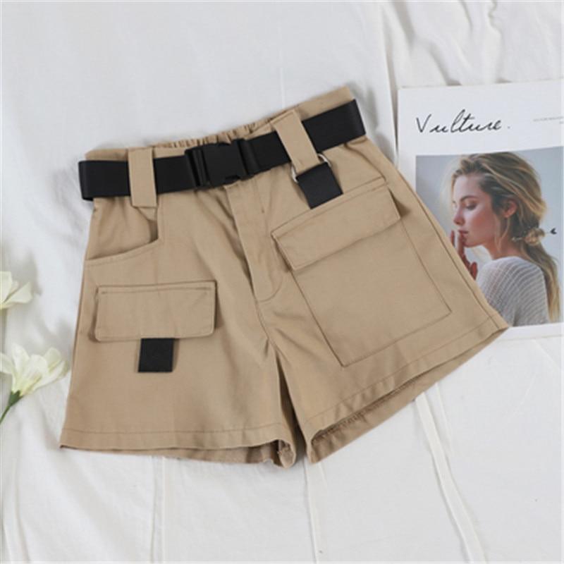 Fashion Summer Women's Bottoms Large Size Ladies Shorts Women Elastic Waist Overalls Boyfriend Style Pocket Short Pants Loose