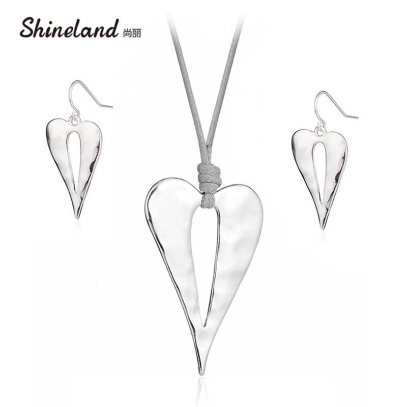 Shineland Simple Hollow Out Heart Love Necklace Drop Earring Gray PU Leather Shiny Silver Color Vintage Jewelry Set for Women цена 2017