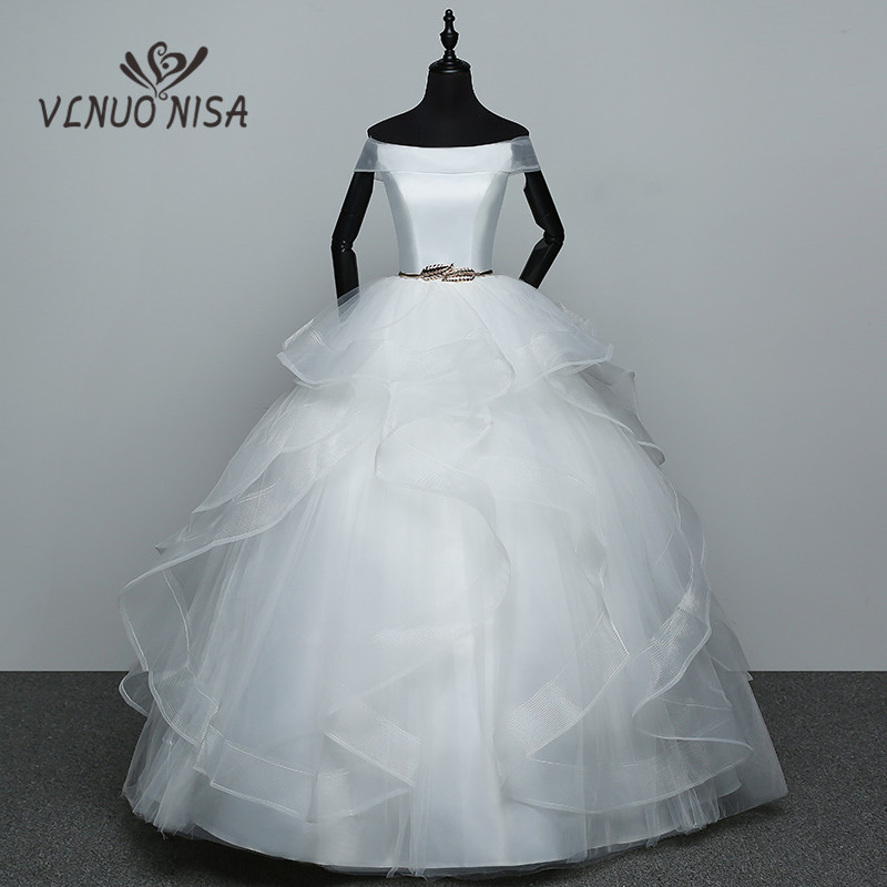 Fashion Tiered Plus Size Boat Neck Short Sleeves Wedding Dresses ...
