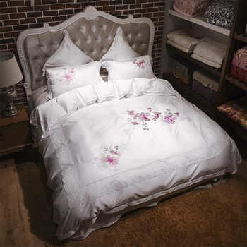 Chinese tencel embroidered Bedding Set king queen size bed set soft summer duvet cover set bed sheet set pillowcases