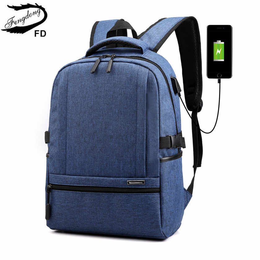 FengDong waterproof school bags for boys usb book bag teen girl school backpack schoolbag kids back pack laptop bags for men