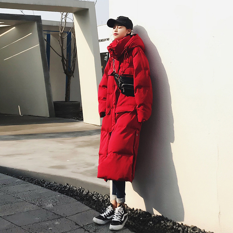 Kadın Giyim'ten Parkalar'de 2019 Kadın Kış Ceket Yeni Moda Uzun Siper Kapşonlu Dış Giyim Aşağı Pamuk Yastıklı Rüzgarlık Düz Palto Bayan Sıcak Palto'da  Grup 2