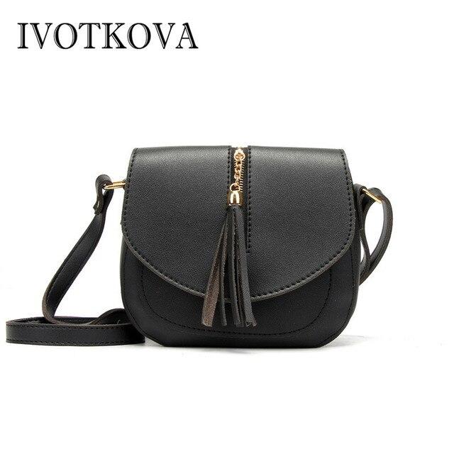 c5cfbedc18b2 IVOTKOVA New PU Leather Women Bucket Shoulder Bag Fashion Panelled Tassel  Crossbody Bag Female Messenger Bag Small Handbags-in Top-Handle Bags from  ...