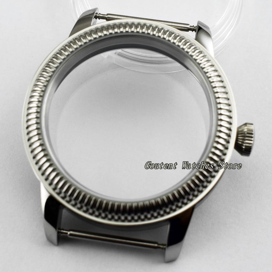 44mm Sterile 316L Steel Watch Case Wristwatch Shell Fit ETA 6497/6498 Seagull ST36 Movement