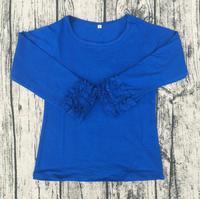 Wholesale Kids Girls Sweet royal blue Color t shirt baby girls icing ruffle shirts Fall cotton Shirts For Toddler