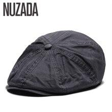 NUZADA Plana Estilo Britânico Cap Viseira Caps Cotton Mulheres Homens  Unisex Boina Chapéus Primavera Outono Retro 2fec912c4a6