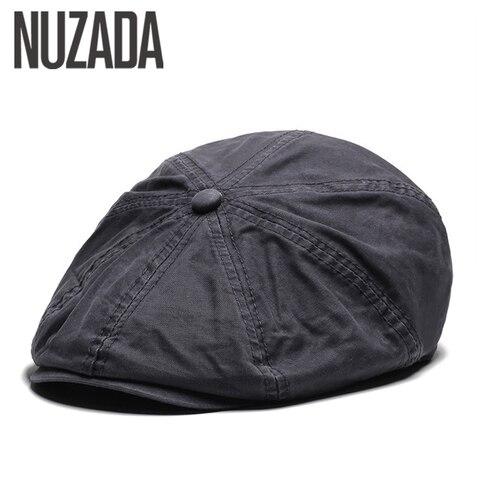 NUZADA British Style Flat Cap Visor Caps Cotton  Women Men Unisex Beret Hats Spring Autumn Retro Solid Color Boina Pakistan
