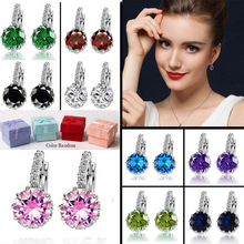 Gift Box Packing 9 Color White Pink Silver Purple Color Zircon Earrings For Women Crystal Stud