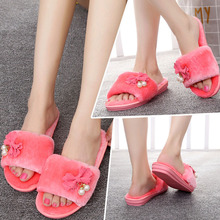 New Arrival fashion women comfortable flat bottom  plush slipper ladies indoor autumn winter warm soft home candy color shoes